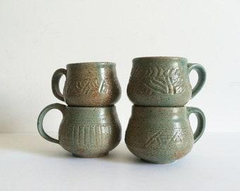 Set of Four Studio Pottery Mugs