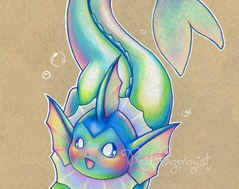 Colorful Vaporeon art PRINT, signed