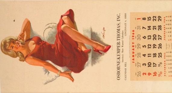 Pin Up Calendar Vintage : Items similar to original vintage art sarnoff girl in red