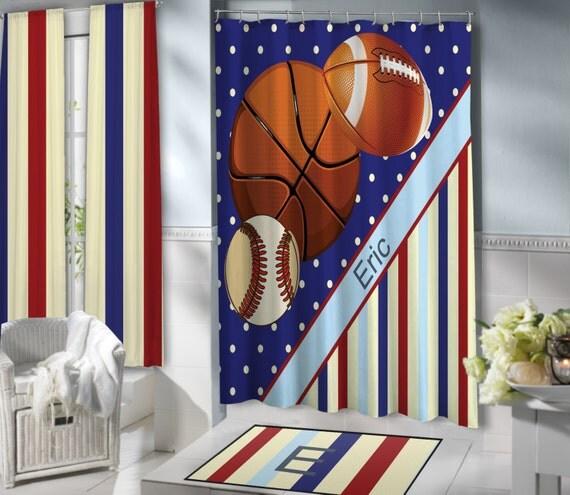 Sports Shower Curtains For Kids Blue Baseball Basketball