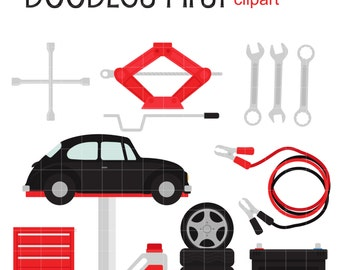 Auto Repair Shop Clip Art for Scrapbooking Card Making Cupcake Toppers Paper Crafts