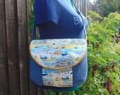 Harbour Scene summer beach nautical linen cotton shoulder crossbody bag. Manhattan Mamma