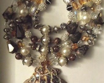 Huge Bold Chunky Theatrical Oversized Gemstone Shell Statement Necklace MERMAID Wow Factor Heavy Luxury Couture Dramatic Huge KATROX
