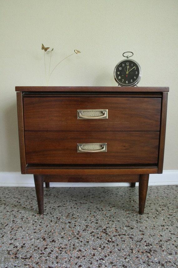 mid century bassett walnut nightstand vintage walnut brass end