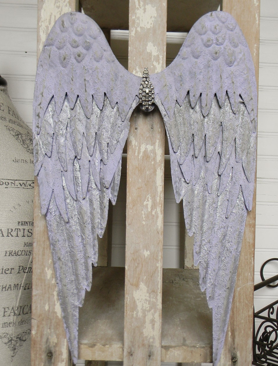 Angel wing wall decor shabby chic wings shabby chic wall for Angel wings wall decoration