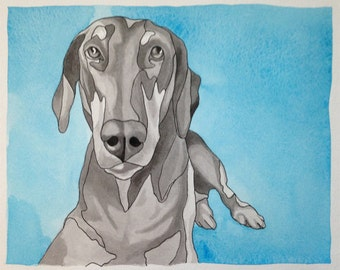"Custom Pet Portrait - 8""x10"" Ink/Watercolor"