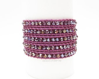 Purple magenta crystal wrap bracelet on leather cord, fushia, wrap bracelet