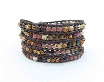 Brown stone wrap bracelet with crystal, gold plated beads on soft polyester cord