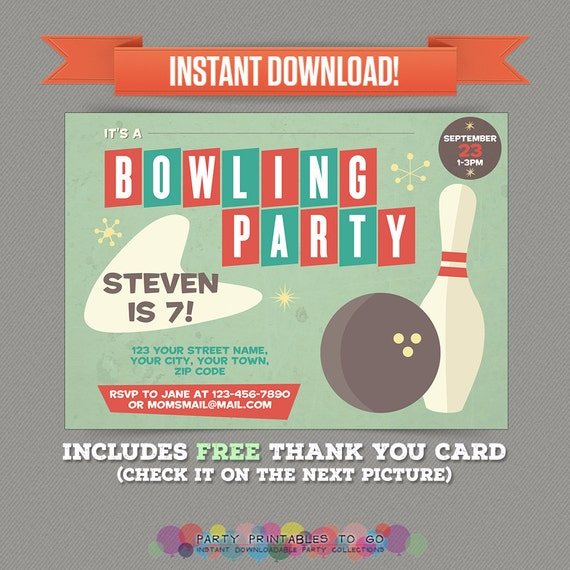 Vintage Bowling Birthday Party Printable Invitation with FREE – Free Bowling Birthday Party Invitations