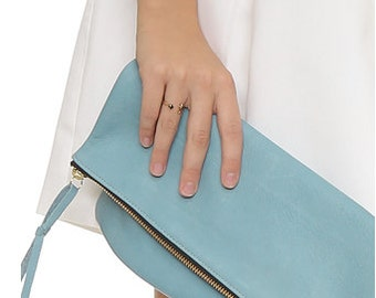 Spring Fold-Over Clutch - Pastel Blue Leather!