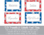 Printable Party Food Tents - Folding Editable Text Buffet Labels - Name Table Seating Place Cards - July 4th Red White Blue Silver Stars