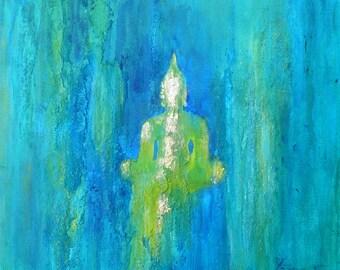 """Original """"Emerald Buddha"""" 12 x 12 inch Buddha Yoga Kundalini Om Gold"""