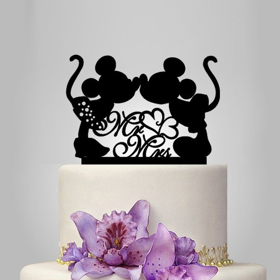 Mickey And Minnie Mouse Silhouette Cake Topper Mr By