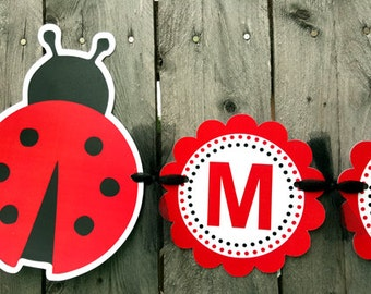 Ladybug Banner - Ladybug Baby Shower Banner - Ladybug Birthday Banner