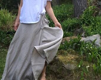 Flared Linen Wrap Skirt - Long