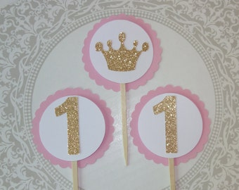 Princess Crown Cupcake Toppers - Princess Birthday- Princess First Birthday- pink and gold party - princess theme baby shower
