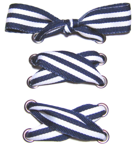 the shoelaces shop navy white ribbon shoelaces blue