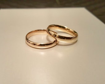 set of 2 14k solid gold wedding set 4mm engagement ring 14k gold - Classic Wedding Rings