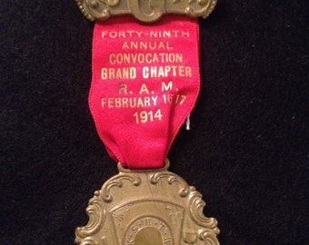 Antique Whitehead & Hoag 49th Annual Topeka R.A.M. Convocation Grand Chapter 1914 Badge