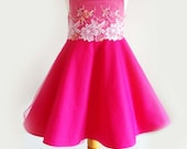 Stunning Girl's Hot Pink Party Dress, Flower Girl Dress, Special Occasion Dress, Cotton, Tulle & Lace Dress, circle skirt with petticoat