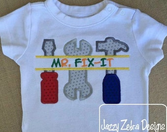 Mr Fix It saying Appliqué embroidery Design - tools Appliqué Design - boy Appliqué Design - construction Appliqué Design