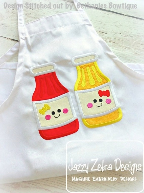Ketchup and Mustard Appliqué embroidery Design - best friends appliqué design - ketchup appliqué design - mustard appliqué design - picnic