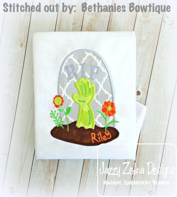 Zombie Grave Applique embroidery Design - zombie Applique Design - halloween Applique Design - grave Applique Design