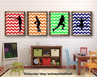 Sports Decor Theme Baby Shower Baby Boy Nursery Art Print  Gift Wall Art Posters Instant Download