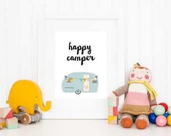 DIGITAL Happy Camper Nursery Print, Retro Vintage Print for Baby Room, Camping Playroom Print, Blue Nursery, Hipster Decor - ANY SIZE