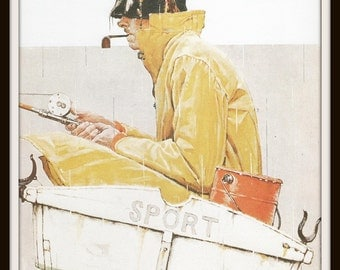 Norman Rockwell Art Print, Man Fishing in Small Boat in the Rain, Vintage Art, Book Plate Illustration