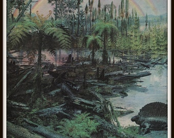 Dinosaur Art Print, Prehistoric Landscape With Rainbow, 1960s Book Plate, Archaeology, Paleontology