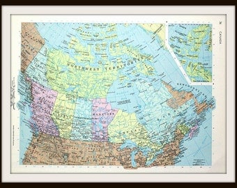 Canada Map, 12 x 9 Book Plate, Art Print, Large Colorful 1960's Map, Paper Ephemera, Ready to Frame