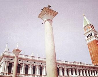 Venice Photography, St Mark's Square, Italy Travel Photography, Cream, Orange, Pink, Wall Art, Home Decor