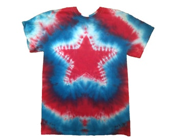 FREE SHIPPING 4th of July Star Tie Dye Shirt - Short Sleeve - 100% Cotton