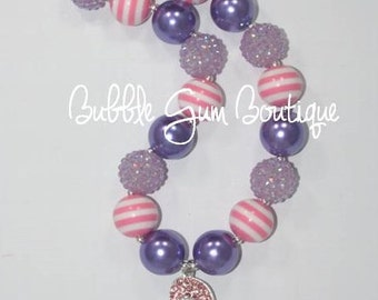 Flip Flop Pendant Bubbble Gum Bead Necklace