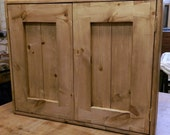 handmade bathroom kitchen cabinet in natural chunky eco wood, 2 doors, custom options available, industrial & rustic fusion from Somerset UK