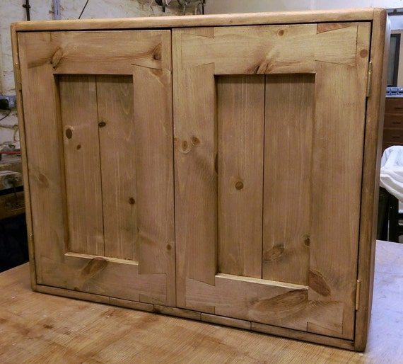 bathroom or kitchen cabinet in natural chunky eco wood 2 doors custom