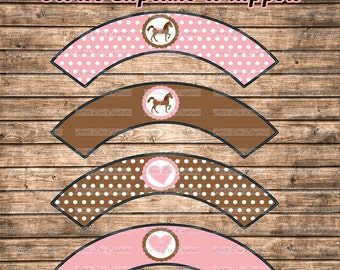DIY Printable Pink and Brown Horse & Heart Cupcake Wrappers Printable Cupcake Wrapper