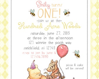 Winnie The Pooh Invitations Etsy Uk
