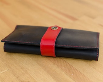 Treasure Wallet graphite-red - Handmade leather wallet - Leather Wallets