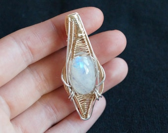 Aeon - Moonstone, Sterling Silver & 14k Symmetrical Pendant. Hangs two ways!