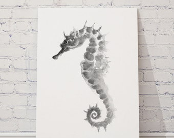 Seahorse Painting Ocean Illustration Black White Nautical Art Print Vintage Silver Sea Horse Wall Decor