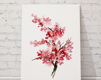Cherry Blossom Flower Watercolor Painting, Pink Gifts For Her, Sakura Giclee Fine Art Print, Flower Girl Decoration, Tree Illustration