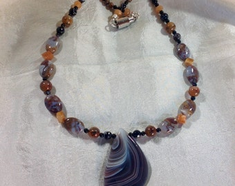 Botswana Agate gemstone necklace set 24 inches