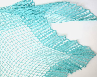 Blue crochet shawl stole summer shawl bridesmaid shawl nautical crochet lace wrap spring scarf shawl triangle scarf swimsuit cover triangle