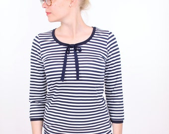 "Loop shirt ""Marlen"" / / dark blue white striped with loop"
