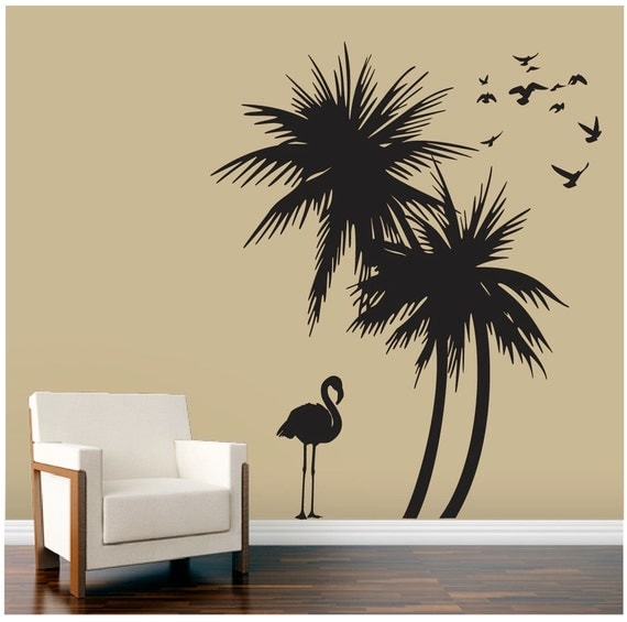 palm trees wall decal with flamingo and birds wall decal. Black Bedroom Furniture Sets. Home Design Ideas