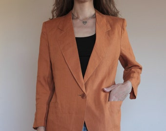 90's Genny rust linen summer one button blazer unlined easy cool
