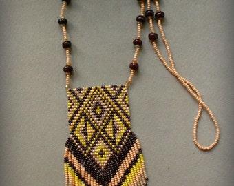 Beaded necklace - seed bead jewelry - beaded pendant - ethnic / boho, traditional beadwork .