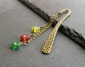 Red Yellow Green Star Bookmark, Bronze Book Charm, Beaded Book Mark